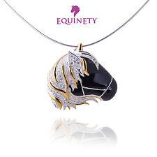 Equinety deslumbrantes Negro Plata Caballo Collar Ecuestre Regalo de San Valentín