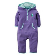 Carter's NWT Infant Girls Fleece Penguin Hooded Jumpsuit Coverall 6 Months