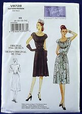 Vogue Vintage 1940s Retro Midriff Dress Sewing Pattern Misses 8,10,12,14 8728