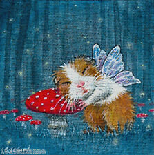 LTD ED GUINEA PIG FAIRY GLOW WORMS PRINT FROM ORIGINAL PAINTING SUZANNE LE GOOD