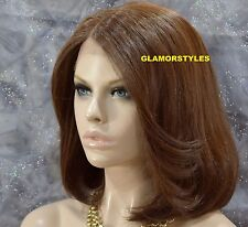 "17"" Bob Straight Auburn Brown Mix Lace Front Wig Heat Ok Hair Piece #HM6.30 NWT"