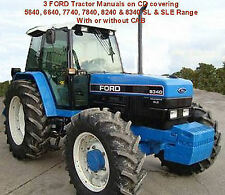 3 FORD 5640 6640 7740 7840 8240 8340 Tractor Manuals CD, Workshop,Ops & Owners