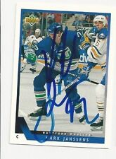 93/94 Upper Deck Autographed Hockey Card Mark Janssens Hartford Whalers