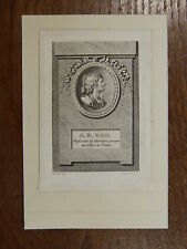 Gravure 18e s. PORTRAIT MINIATURE DE J. B. GAIL Professeur au Collège de France