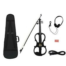 4/4 Electric Violin Fiddle with Ebony Fittings Cable Headphone Case Black J1R7