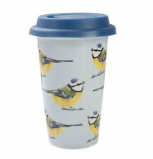 Into the Wild BLUE TIT BIRD Travel Mug with Lid CERAMIC Double Walled Cup