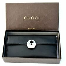 GUCCI New Authentic Designer Womens Logo Black Leather Bifold Wallet