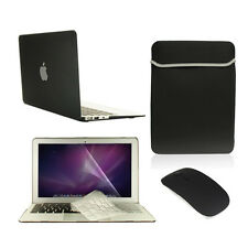 "5 in 1 Rubberized BLACK Case for Macbook Air 11"" + Key Cover + LCD + Bag+ Mouse"