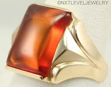 Antique 1920's Art Deco LARGE 11ct Orange Sapphire 10k Solid Gold Men's Ring