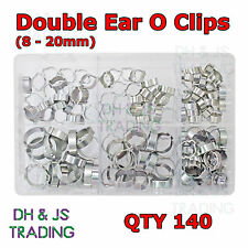 Assorted Box of O Clips 8 - 20mm Qty 140 Double Ear Clamp Hose Petrol Water