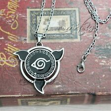 "Naruto Black Leaf Village Konoha Ninja 2"" Metal Pendant Necklace Chain Anime Cos"