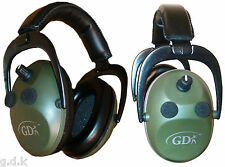 GDK 4 MIC GREEN EAR DEFENDERS, ELECTRONIC EAR MUFFS,EAR PROTECTION,SHOOTING,MUFF