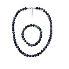 """35ct Labradorite Necklace (18"""") and Bracelet (7.5"""") Set with 925 Silver Clasps"""