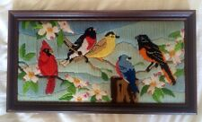 """Completed Framed Birds Floral Branch Crewel Embroidery 17"""" W X 9.5"""" H Vintage 86"""