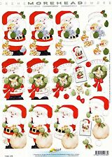 Morehead Father Christmas 3D Decoupage Craft Sheet Card Making CUTTING REQUIRED