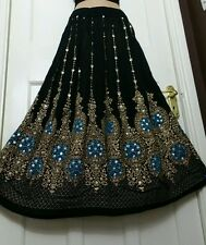Ladies Indian Boho Hippie Gypsy Long Sequin Skirt Rayon in Black with Blue inset