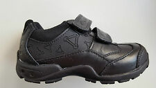 CLARKS boys Jack Nano black leather school shoes w/out lights UK size 7 G (wide)