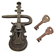 Large Antique Style Cast Iron & Brass Violin Shaped Padlock Lock/Key Set 2 Keys
