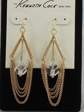 Kenneth Cole Goldtone SANDSTONE Faceted Bead Chain Chandelier Earrings $30