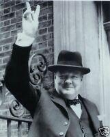 Winston Churchill Prime Minister V Sign 10x8 Photo