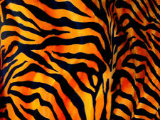 VELBOA FAUX FUR ORANGE ZEBRA ANIMAL PRINT FABRIC SEWING POLY 60 SOLD BY THE YARD