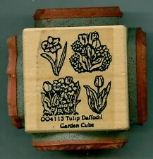 NORTHWOODS rubber stamp TULIP DAFFODIL GARDEN CUBE wood mounted, Spring / Easter