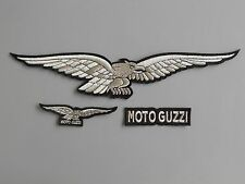 MOTO GUZZI KIT 3 TOPPE ARGENTO TOPPE PATCH RICAMATE TERMOADESIVE