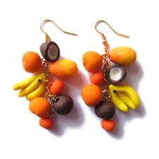 Fatto A MANO ARANCIO GIALLO BANANA COCCO Frutta Cibo Vegetariano Big Orecchini Jewelry