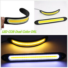 2 Pcs COB LED Dual Color Car SUV DRL Fog Light & Turning Signal Lamps Waterproof