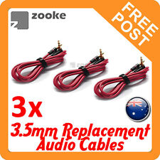3x Replacement Audio Cable Cord Wire for Beats by Dr Dre Headphones - 3.5mm RED