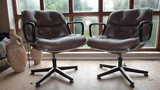 TWO VINTAGE ORIGINAL CHARLES POLLOCK CHAIRS IN RARE BROWN  LEATHER