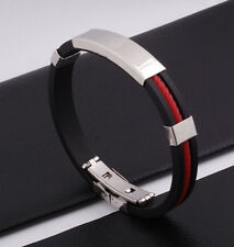 "Unisex Men Women's Stainless Steel Rubber Silicone Bracelet black 8"" G27"