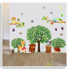 Animal Owl Wall Stickers Jungle Zoo Tree Nursery Baby Kids Room Decals Mural Art
