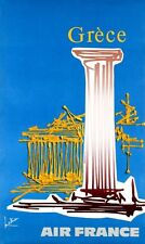 1971 Grece Greece Air France - Rare Vintage Travel Poster - affiche aeronautique
