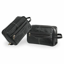 Pierre Cardin 100% Leather Travel Washbag Toiletry Bag - Black / 18152