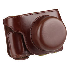 New Coffee PU Leather Camera Case Bag Cover for Panasonic Lumix GF7 With Strap