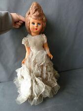 Ancienne poupée en plastique avec robe mariée, jouet vintage french antique doll