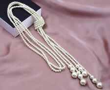 Beautiful Pearl Double Chains Sweater Long Necklace