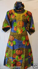 Women African wax Fabric Cotton Long Dress W/ Scarf Maxi Free Size Print #003