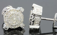 .57 CARAT MENS/WOMENS 9mm 100% GENUINE DIAMONDS WHITE GOLD FINISH EARRING STUDS