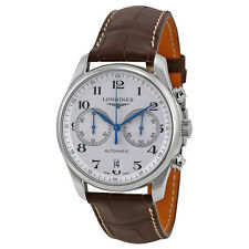 Longines Master Collection Automatic Chronograph Silver Dial Brown Leather Watch