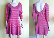 NWT $128 FREE PEOPLE Dress Crochet Applique 3/4 Sleeve Open Back Striped Pink L