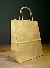 250 8x4x10 (approximate) Kraft Brown Cub Paper Gift Handle Shopping Bags