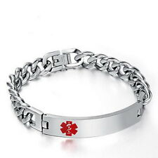 Women Men Stainless Steel Medical Alert Emergency ID Engravable Bracelet SilverE