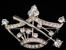 SILVER CLEAR RHINESTONE PRINCESS BEAUTY PAGEANT TIARA CROWN STAFF PIN BROOCH 2+""