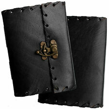 "5"" Handmade Leather Black Diary Journal Sketchbook with Clasp & Handmade Paper"