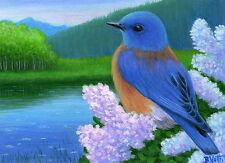 Blue bird spring lilacs lake misty rainy day mountain limited edition aceo print