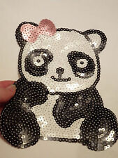 large panda patches sequin applique patch motif iron on sew on craft UK