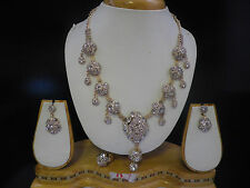 Or blanc Bollywood Indien Collier Boucles D'oreilles Bague Set Bijoux