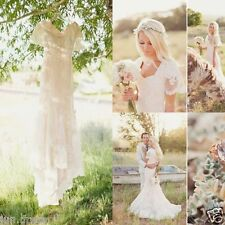 2016 Bohemian Long Wedding Dresses Short Sleeve White Ivory Mermaid Bridal Gowns